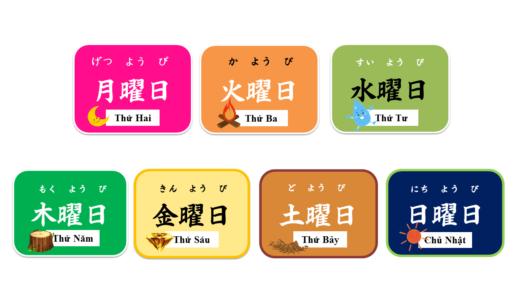 Làm thế nào để diễn tả cho ngày trong tuần bằng tiếng Nhật? (Thứ Hai, Thứ Ba, Thứ Tư, Thu, Thứ Sáu, Thứ Bảy, Chủ Nhật) [Minh họa / Nhật Bản]